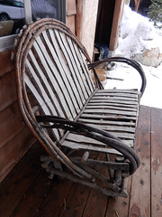 Rustic bench (lmundy2002) Tags: dogs dogsled dogsledding huskies sleds whitefish olney whitefishmt olneymt montana mt winter wintersports