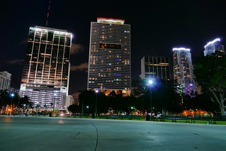 In Bayfront Park at night, downtown Miami