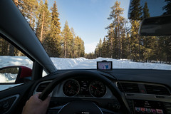 Lapland-Driving (Tiomax80) Tags: lapland driving steeringwheel wheel volkswagen golf car red snow white cold winter ice hand rix dashboard gps garmin drive roadtrip road track roadtripping trip interior moskosel trees forest woods vw uga wideangle wide angle samyang 14mm slippering icy wood alone allalone lost blue sky bluesky norrbotten vidsel sweden swedish tiomax d610 nikon manual