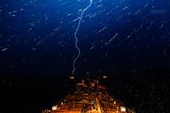 Driving Rain (langdon10) Tags: canada canon70d laurentiadesgagnes nighttime quebec rain ship stlawrenceriver tanker troisriviere lightening