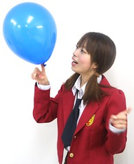 Your School Year Balanced! (emotiroi auranaut) Tags: student balance balancing talent skill concentrate concentration cute adorable pretty girl woman lady uniform class hands fingers finger toy balloon blue