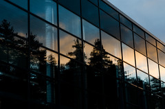 Reflections (Mikael R.) Tags: reflection sunset forest factory glass pipes building shadow silhouette light darkness finland feburary winter 2017 square nikond7000 sigma1750mm