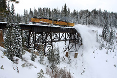 Snow Removal over Donner Pass (Ray C. Lewis) Tags: feb flanger emd donner donnerpass railroad snowremoval snowplow rosevillesub troy bridge electromotivedivision