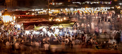 Jemaa el-Fna, UNESCO Intangible Cultural Heritage of Humanity (Jean-Luc Peluchon) Tags: night light city crowd people market lumix maroc commerce longexposure afrique