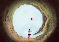 In the Middle of the Storm (GideonAJWay) Tags: balloon red polar photoshop landscape idea composite conceptual model seaside wales sea grass nikon 52week project adobe