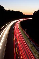 Lichtzieher - long shutter (visualshotz) Tags: white red longshutter lichtzieher autobahn deutschland night germany nacht langzeitbelichtung kurve verschwommen blur trouble auto car saarland