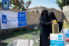 Women receiving their Ramadan food package in Yemen.