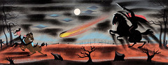 Headless Horseman and Ichabod Crane concept art by Mary Blair from The Adventures of Ichabod and Mr. Toad (1949) (Tom Simpson) Tags: disney vintage art illustration painting conceptart maryblair headlesshorseman ichabodcrane theadventuresofichabodandmrtoad 1949 1940s halloween jackolantern spooky