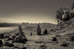 The Old Man of Storr on the Isle of Skye (Niklas FliNdt) Tags: old man storr highlands scotland isle skye sun sky blue no clouds noclouds attraction sightseeing sight mountain hiking outdoor travel roadtrip island ocean atlantic high sunny bright monochrome bnw