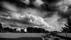 That year's summer, afternoon clouds (葉 正道 Ben(busy)) Tags: monochrome 單色 自然 nature landscape 風景 clouds 雲 bw 黑白 taichung taiwan 台灣 台中