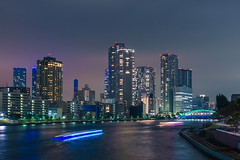 Tokyo nights (David S.M.) Tags: tokyo japan asia river water night nightscape lights lighttrail boat colors clouds sky skyscrapers buildings travel sonya7 canonef24105mmf4lisusm