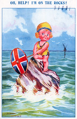 On the Rocks (pepandtim) Tags: postcard old early nostalgia nostalgic rocks valentine valentines series artwork albert carnell portsmouth hants hampshire 02081929 1929 23cks43 hoar franber connaught road fleet bournemouth fast train basingstoke comfy carriage eve fats waller recorded classic song aint misbehevin