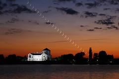 Moonset sonata (nikoletta.szakaly) Tags: hungary tata castle moon crescent moonset dusk sunset lake composite