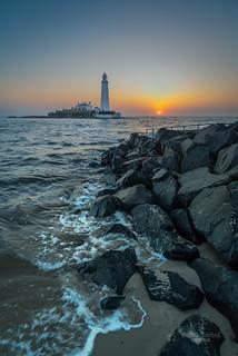 Beautiful sunrise at St. Mary's Lighthouse