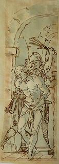 ITALIE 17e - La Flagellation du Christ (drawing, dessin, disegno-Louvre  INV17364 ter) - 0