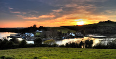 A Late Show (suerowlands2013) Tags: churchtownfarmnaturereserve saltash riverlynher stgermansriver forderlake millpond oldmill harbour cottages history sunset endoftheday sundown dusk reflections cornwall antonypassage