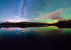 Reflections of the stars (^Baobab^) Tags: milkyway vermont lake reflection star stargazing astrophotography water cloud mountain foliage night nightsky autumn fall