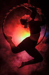 Hoops & Smoke (robktkate) Tags: woman girl aerialhoops aerialist acrobatic performer routine pose backlight smoke creative studio mood form