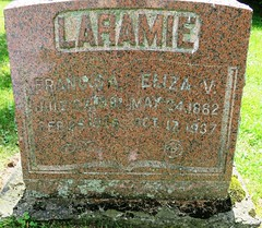 Larame, Francis A.  1881 - 1936  & Laramie, Eliza V.  1882 - 1937 (Hear and Their) Tags: grave marker stone gravestone tomb tombstone greenhill cemetery kingsville fraternal masonic oddfellow