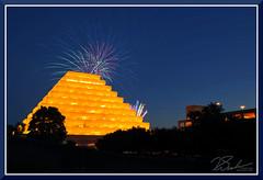 Fireworks_1680 (bjarne.winkler) Tags: nighttime river cats baseball teams sacramento ca fireworks pyramided ziggurat building colorful view