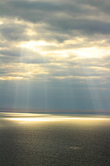 beams at dusk (rmOdinson) Tags: ocean dusk evening sky sea light patches cloud sunset beautiful