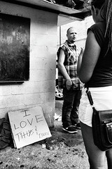 R0038350 (G. L. Brown) Tags: broadway daylight man tittysandbeersign woman america tennessee nashville nashvillestreetphotography streetphotography blackandwhite bw