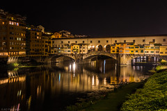 Arno's most famous crossing (Anthony P26) Tags: architecture category citiestowns external flickrpost florence italy nightscenes places pontevecchio travel canon canon70d canon1585mm italian firenze riverarno river water watercourse waterfront longexposure reflection reflectedlight reflections light lightsatnight lightstars bridge architecturephotography travelphotography span arches riverbank outdoor outside night dark darkness city
