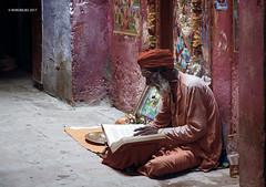 Varanasi 07 (rokobilbo) Tags: varanasi india man thought color waiting ganges