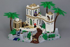 Katoren Monastery (jsnyder002) Tags: lego moc creation model monastery medieval castle landscape eastern middleeastern kaliphlin boulder rock roof dome mosaic cheese wall path palmtree