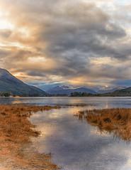 Glencoe, Scotland (mandyhedley) Tags: glencoe scotland loch hill clouds mountains grass canon7dii stream sunset sky abigfave