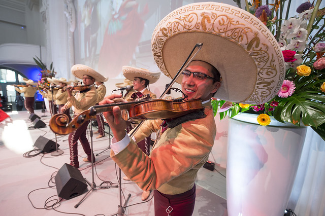 Mexican musicians putting on a show