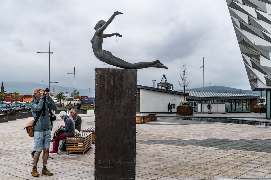 Titanica a sculpture by Rowan Gillespie depicting a diving female figure [Titanic Belfast]-129188