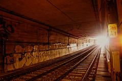 ([gegendasgrau]) Tags: atmo atmosphere ambiance mood moodylight urban urbanscenario tunnel subway tracks gleise rails schienen underground light licht signs schild eraze zk graffiti graff vandalism tags trainline subwayline ubahn metro dortmund 2016