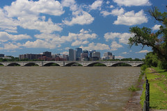 Rosslyn, VA & the Memorial Bridge (Phil Spell) Tags: canon outdoor skyline river bridge buildings highrises clouds water architecture washingtondc virginia rosslynva northamerica usa potomacriver memorialbridge cityscape city trees unitedstates