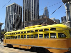 Historic Streetcar, San Francisco. Car, about 1948. (Melinda Stuart) Tags: trolley streetcar sanfrancisco yellow operating publictransit history muni transportation skyscraper urban embarcadero 1940s