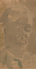 Shadow Self Portrait _ 04241401 (SweetBippie) Tags: selfportrait shadowself interpretive emotional expressive watercolor pencil dark moody ephemeral indefinable difficult teacher mirror sketch alaprima ocher viridian brown craft paper