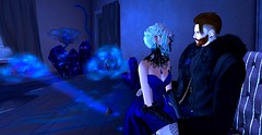 Beauty of Sapphire (Hollow's End) Tags: second life sl hollows end he rp roleplay role play virtual world social night club hotel urban horror event nocturne alcohol drinking champagne aristocrats noble investigators dark sapphire delight roses