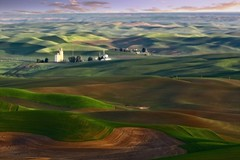 Sunrise on the Palouse (Alan Amati) Tags: amati alanamati america american landscape palouse wa washington thepalouse colfax steptoe butte steptoebutte wheat farm farms rural farmland sunrise earlymorning early earlylight hills rolling texture grain elevator us usa northwest pacificnorthwest light shadow topf25