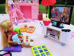 Barbie Movie time (flores272) Tags: chelseadoll chelsea monsterdoll monsterhigh sleepover slumberparty sleepoverparty outdoors doll dolls toy toys