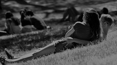 "Homage to photographer Bill Brandt's ""Evening in Kenwood""  /  Hommage à la « Soirée en Kenwood » du photographe Bill Brandt (H - - J) Tags: monochrome monotone blackandwhite noiretblanc park lovers girl boy grass couples billbrandt highpark"