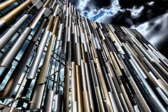 Futuro (Pat Charles) Tags: auckland newzealand aotearoa northisland architecture sky clouds metal metallic building buildings construction future futuristic 1001nights 1001nightsmagiccity