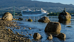 Star Princess Arrival (Sworldguy) Tags: cruiseship starprincess portofvancouver harbour spring port lionsgatebridge northvanvcouver shoreline shore rocky northshore mountains tourism stanleypark outdoors cityscene nikon d7000 dslr wideangle bridge britishcolumbia bc beach park pacificnorthwest girlinwetsuit bronzesculpture seascape seawall