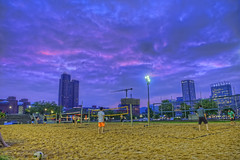 2017-05-22 BBV Men's Doubles (41) (cmfgu) Tags: craigfildespixelscom craigfildesfineartamericacom baltimore beach volleyball bbv md maryland innerharbor rashfield sand sports court net ball outdoor league athlete athletics sweat tan game match people play player doubles twos 2s men sunset sky colorful clouds