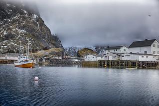 Traditional Norwegian Fishing Village Å in Lofoten, Norway Shot from Marina at Hamnoy and Akkarvika Islands