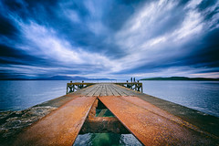 fishing on broken pier (D Cation) Tags: scotland ayrshire portencross firthofclyde arran cumbrae pier fishing night