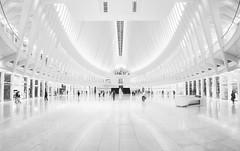 Oculus (Giles McGarry (formerly kantryla)) Tags: newyork usa calatrava santiagocalatrava interior oculus high key highkey morewhitethanblack mono panorama xt2 fuji people architecture modernarchitecture station