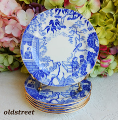 Royal Crown Derby Porcelain Plates ~ Blue Mikado ~ Cobalt White ~ Gold (Donna's Collectables) Tags: royal crown derby porcelain plates ~ blue mikado cobalt white gold