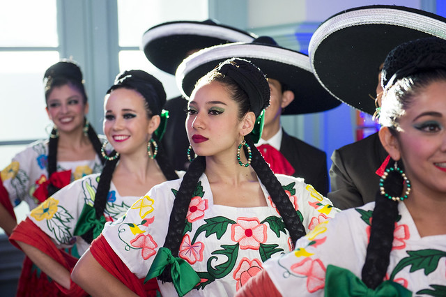 Mexican dancers prepare for a performance