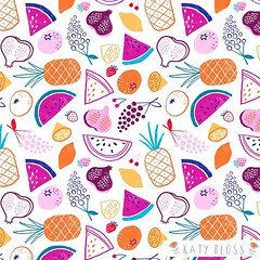 Feeling fruity! A tropical fruit salad pattern inspired by my Morocco trip #pattern #neoncolor #tropicaldesign #foodillustration (katybloss) Tags: tropical watermelon grapes berries foodillustration fruit surfacepattern fabric designer illustrator illustration design pattern