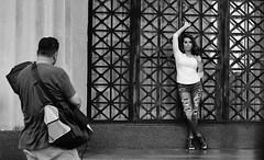 Caught In The Web (burnt dirt) Tags: houston texas downtown city town mainstreet street sidewalk corner crosswalk streetphotography fujifilm xt1 bw blackandwhite girl man woman people person couple pair group crowd walking talking standing looking boots heels stilettos sandals model photographer camera lens dress skirt shorts glasses sunglasses purse bag phone cellphone pose longhair shorthair ponytail kneehigh blonde brunette headphones cap hat asian friends bike bicycle prom lovers